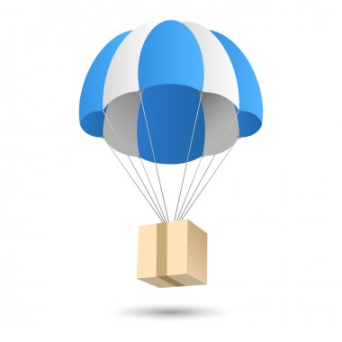 Parachute gift delivery concept emblem