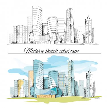 Modern sketch buildings cityscape