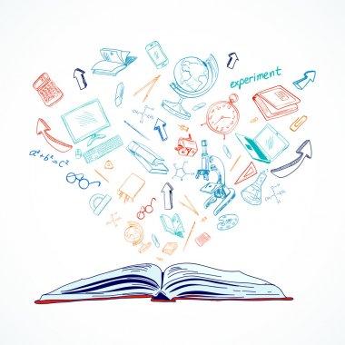 Open book education concept doodle