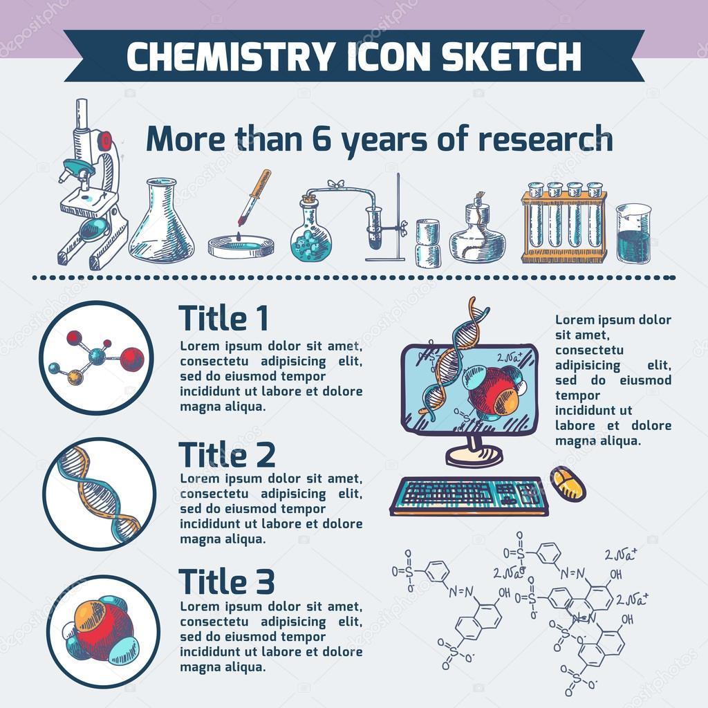 bosquejo de infografía de investigación química — Vector de stock ...