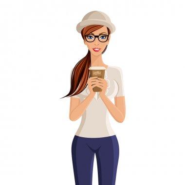 Woman coffee cup portrait