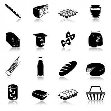 Food icons set of bread milk bottle egg box flour pack isolated vector illustration stock vector