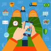Online nakupování plochý koncept