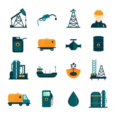 Oil Industry Flat Icons