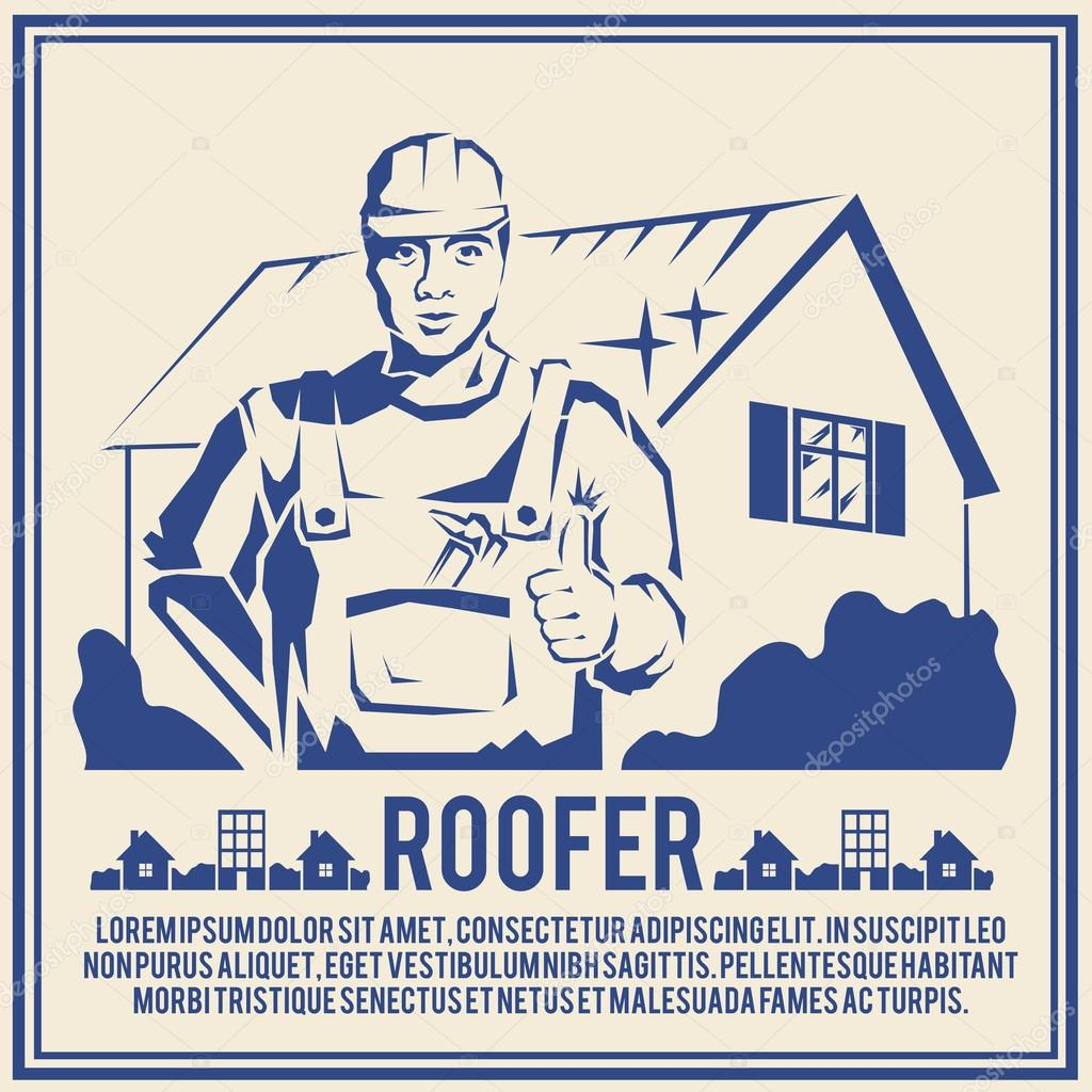 Roofer silhouette poster poster
