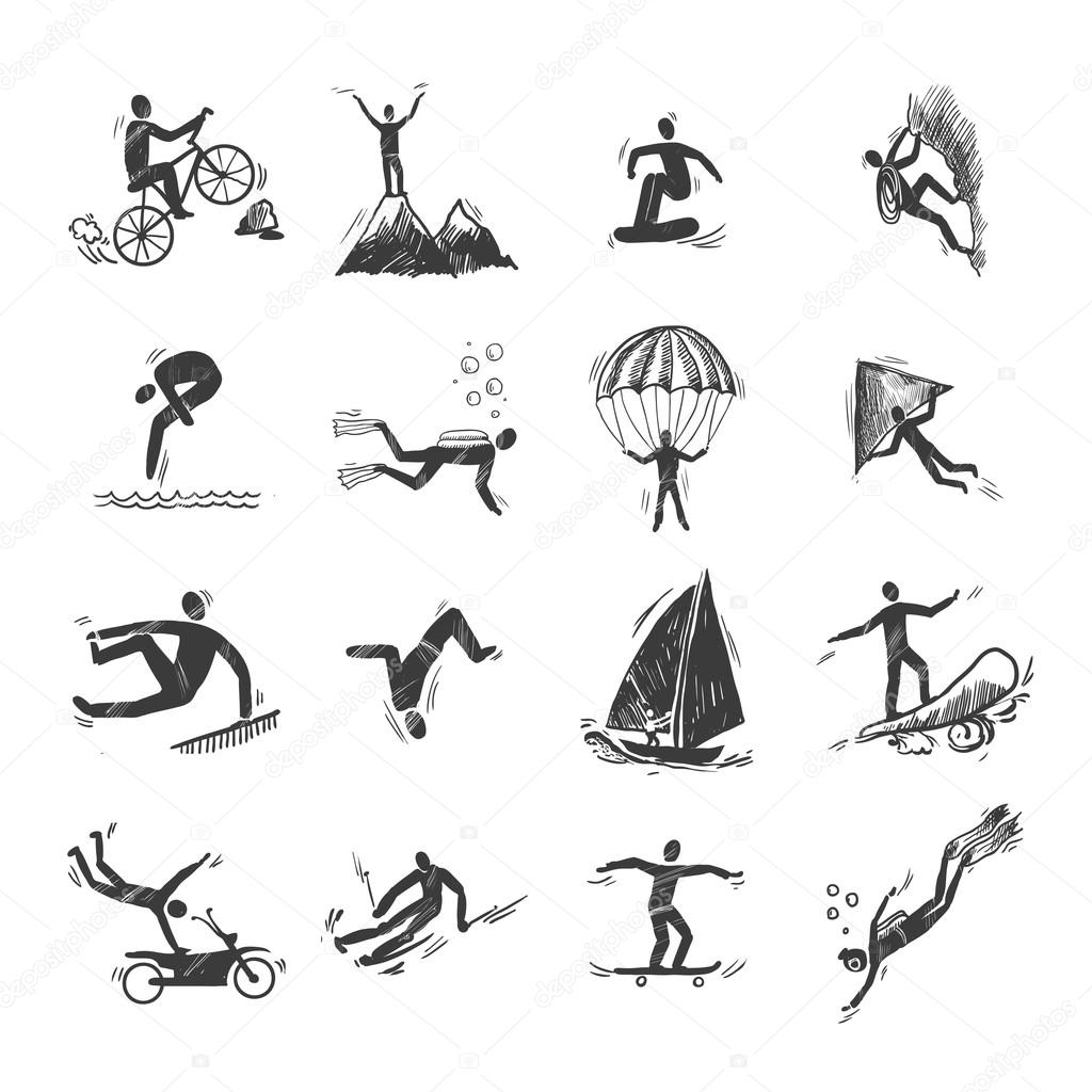 Extreme sports icons sketch of diving climbing sailing isolated doodle vector illustration stock vector