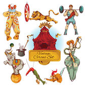cirkusz vintage színes ikonok beállítása