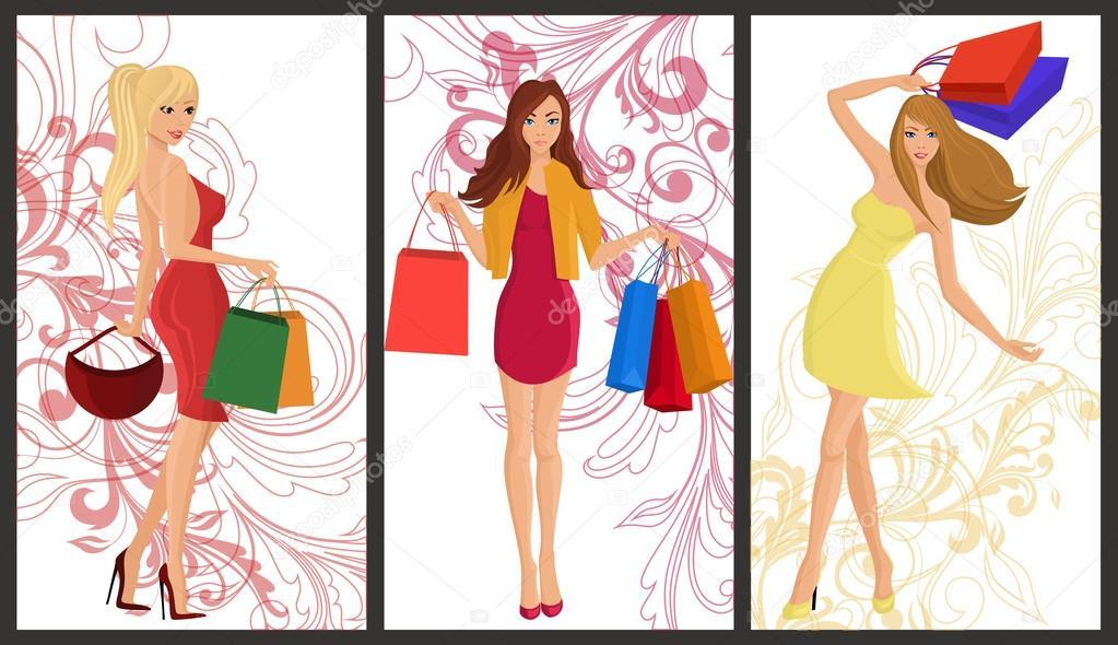 shopping girl banner stock vector macrovector 48433435
