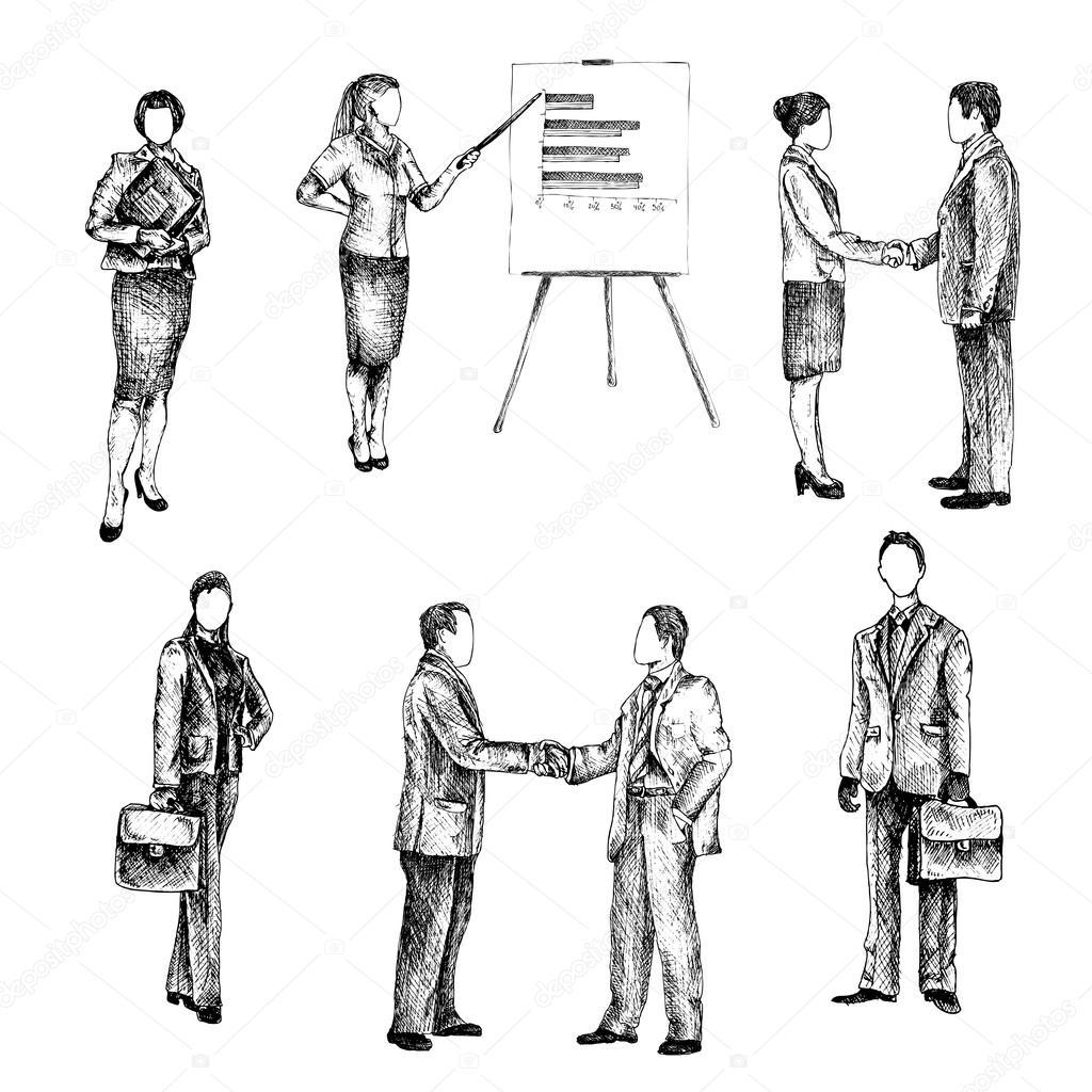 Business people sketch set