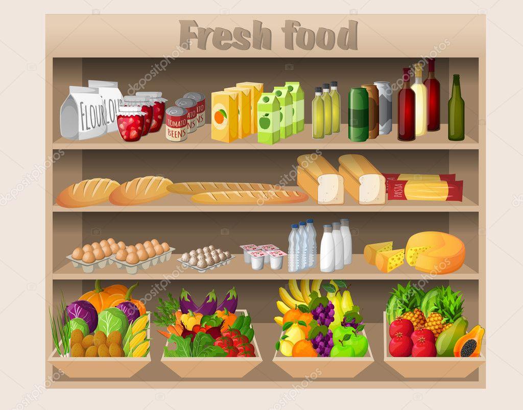 Supermarket shelves food and drinks
