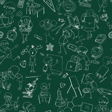 School kids doodle sketch seamless