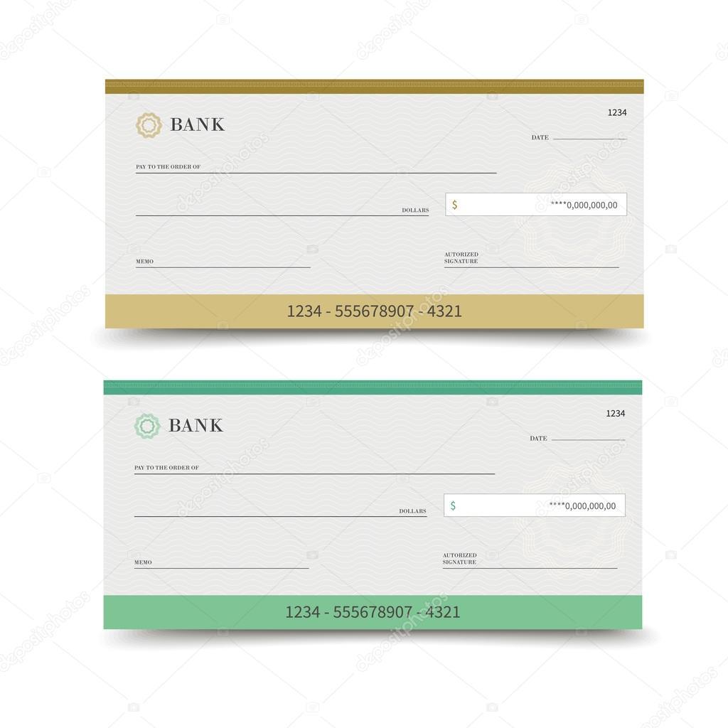 Bank check isolated