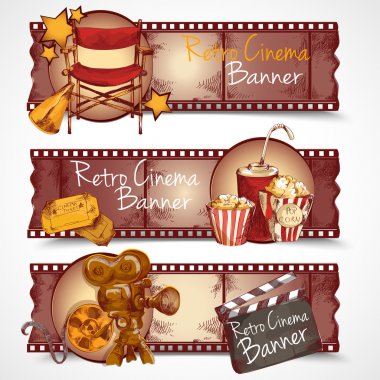 Cinema entertainment media hand drawn retro banners isolated vector illustration stock vector