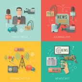Photo Mass media concept flat business composition