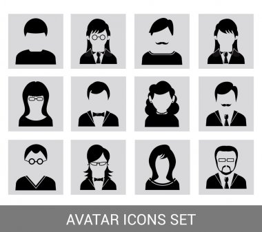 Black avatar icon set