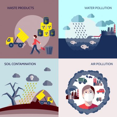 Pollution icons flat set
