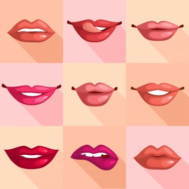 Set of mouth smile red sexy woman lips in flat style vector illustration stock vector