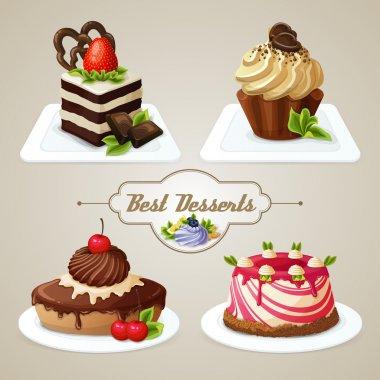 Sweets cakes dessert set