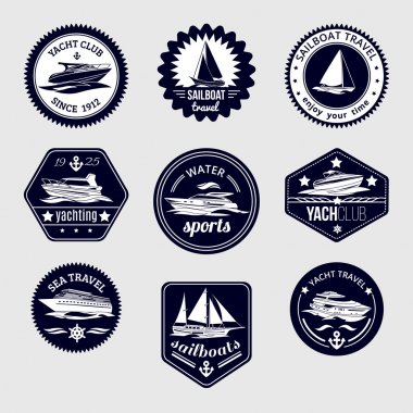 Sailboats travel labels icons set