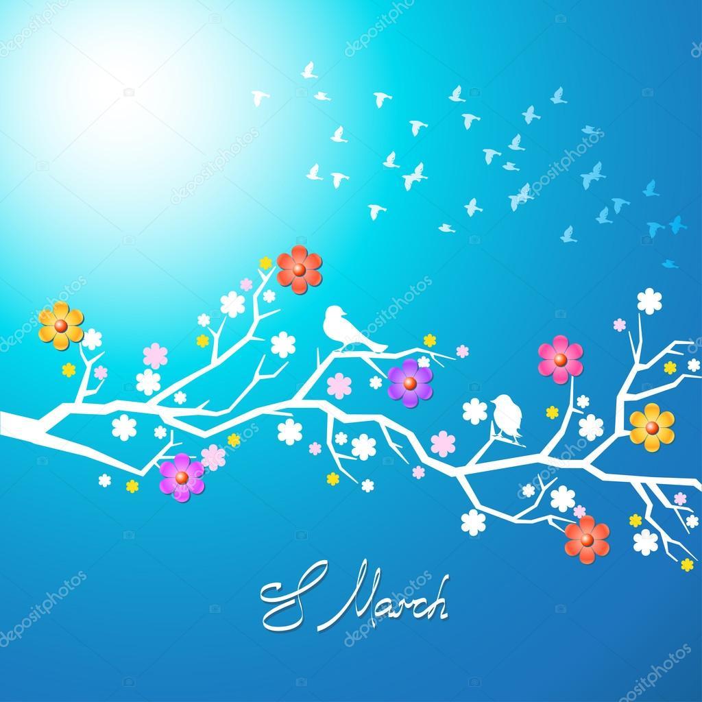 Spring birds singing on a flowering branch