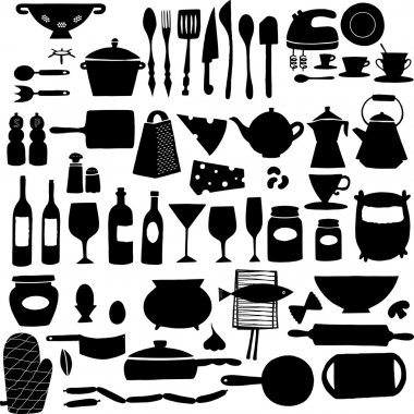 Kitchen tool icon set black and white