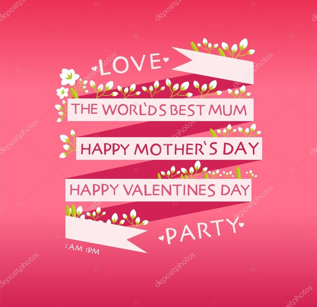 Happy Valentines Day Mothers Day Cards Stock Vector