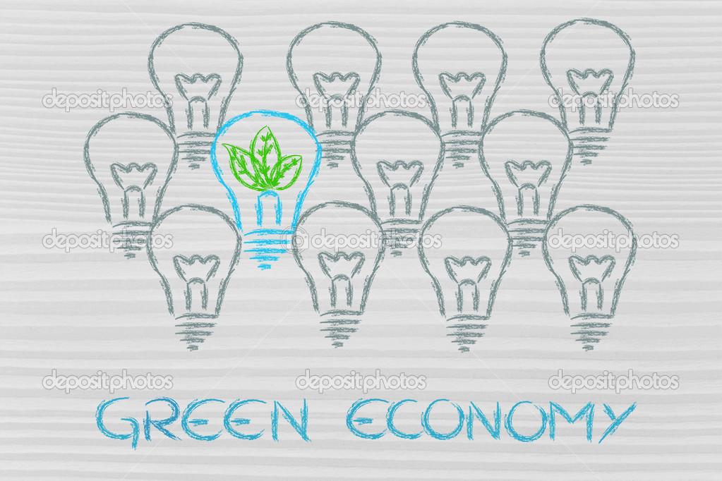 única bombilla con hojas adentro, metáfora de la economía verde ...