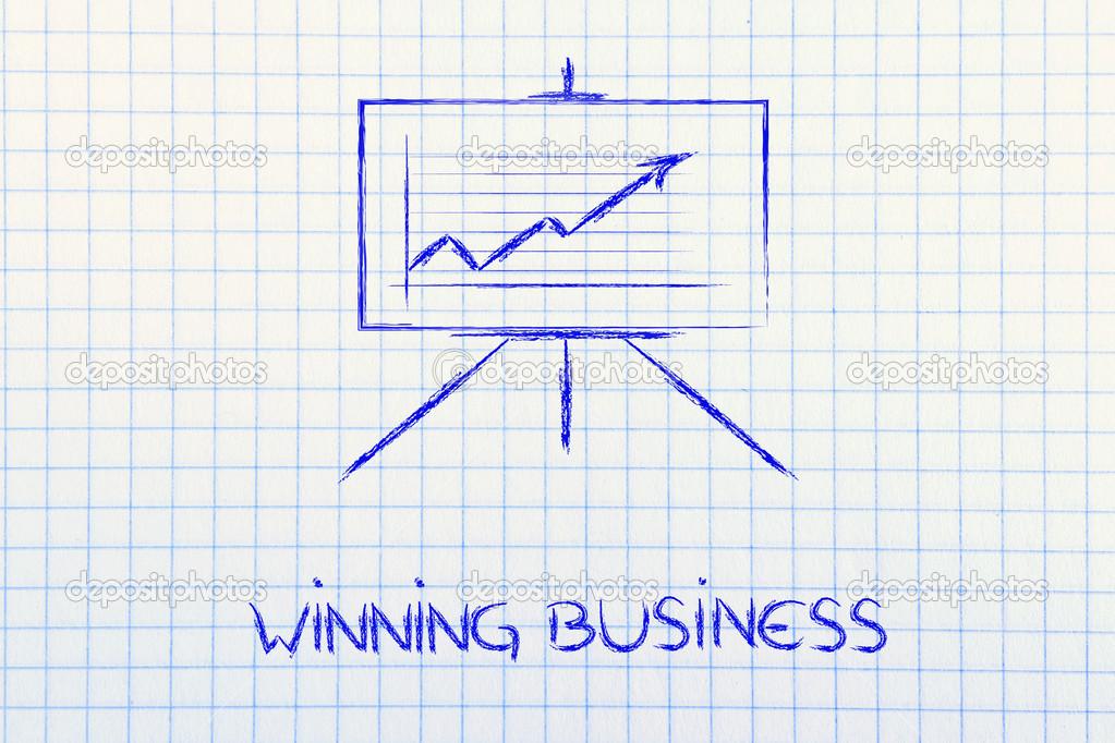 Meeting room Whiteboard-Ständer mit positiven Statistik Diagramm ...