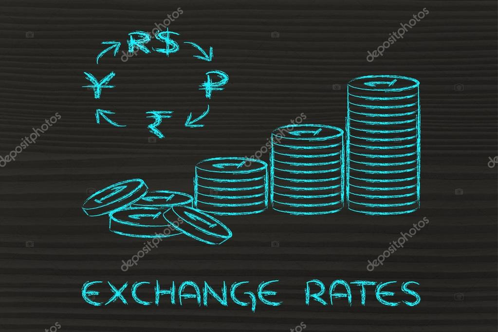Stack Of Coins And Brics Currency Symbols Exchange Rates Stock