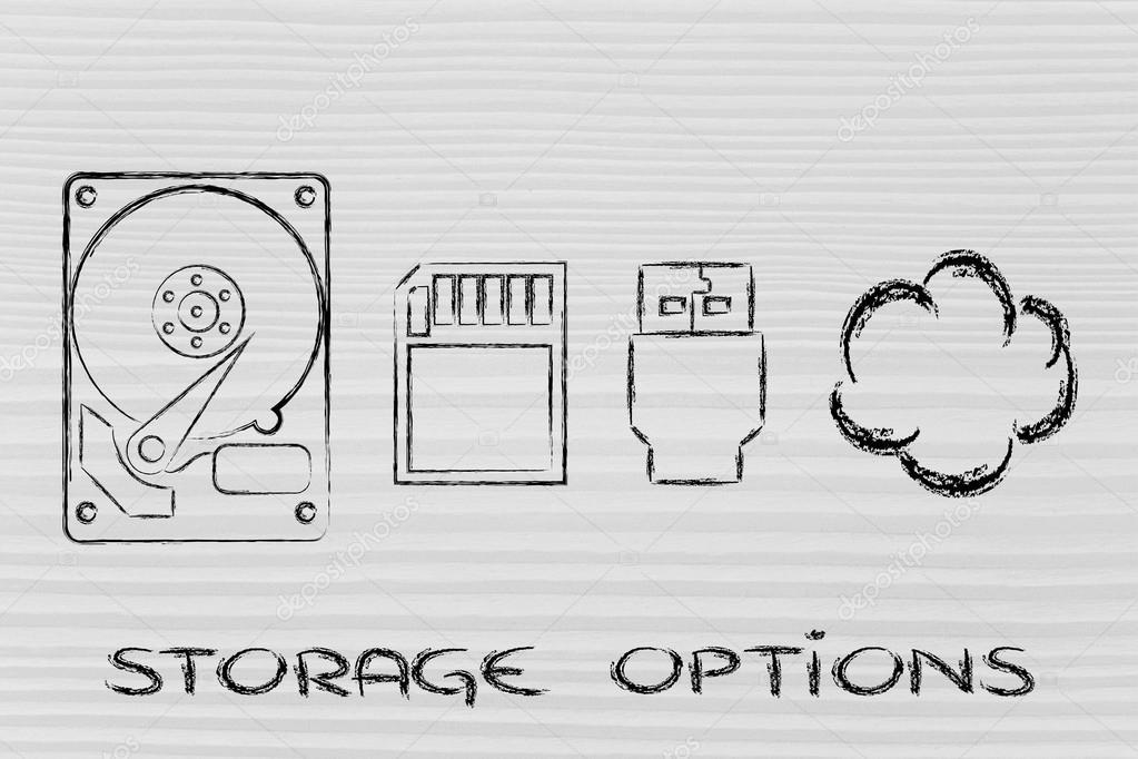 Storage Options Hard Drives Sd Card Usb Key Or Cloud Stock