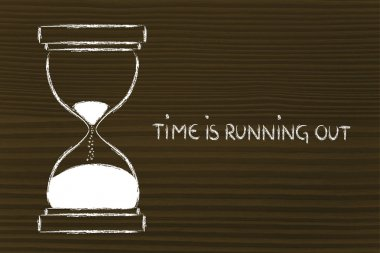 the time is running out, hourglass design