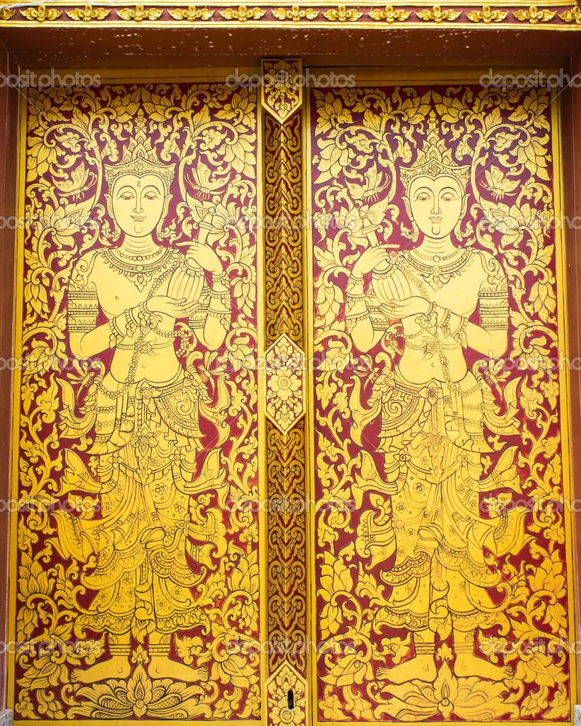 Thai ancient art Gold angel painting on door in temple u2014 Stock Photo  sc 1 st  Depositphotos & Thai ancient art Gold angel painting on door in temple u2014 Stock Photo ...