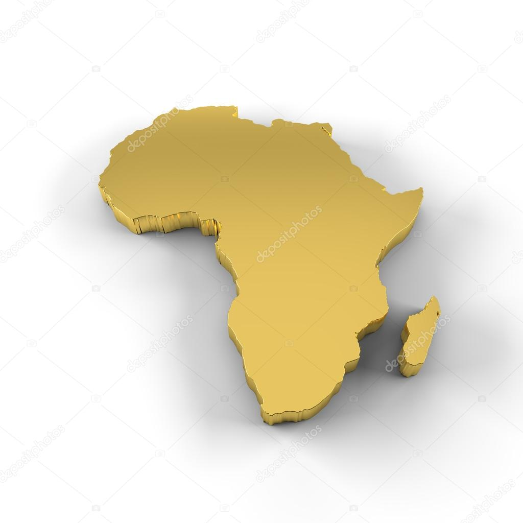 Map Of Africa 3d.Africa Map 3d In Gold And Including Clipping Path Stock Photo