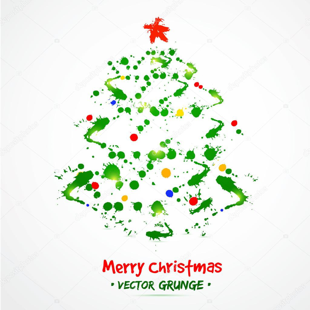 Grunge christmas tree. Watercolor. Poster for your business. — Stock ...