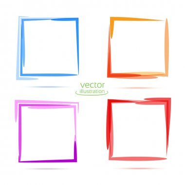 Four squares for your business. Blue, orange, purple, red stock vector