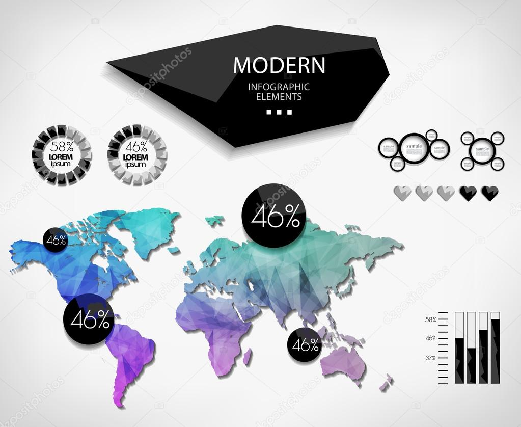 colorful world map modern infographic vector by merfin