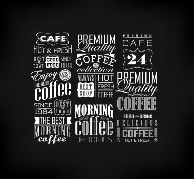 Retro Coffee Labels and typography background . Coffee decoration collection clip art vector