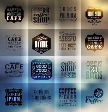 Retro bakery labels and typography. Blur, shadows background. Coffee shop, cafe, menu design elements, calligraphic clip art vector