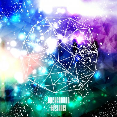 Hipster cosmic background, polygonal triangles and space background clip art vector