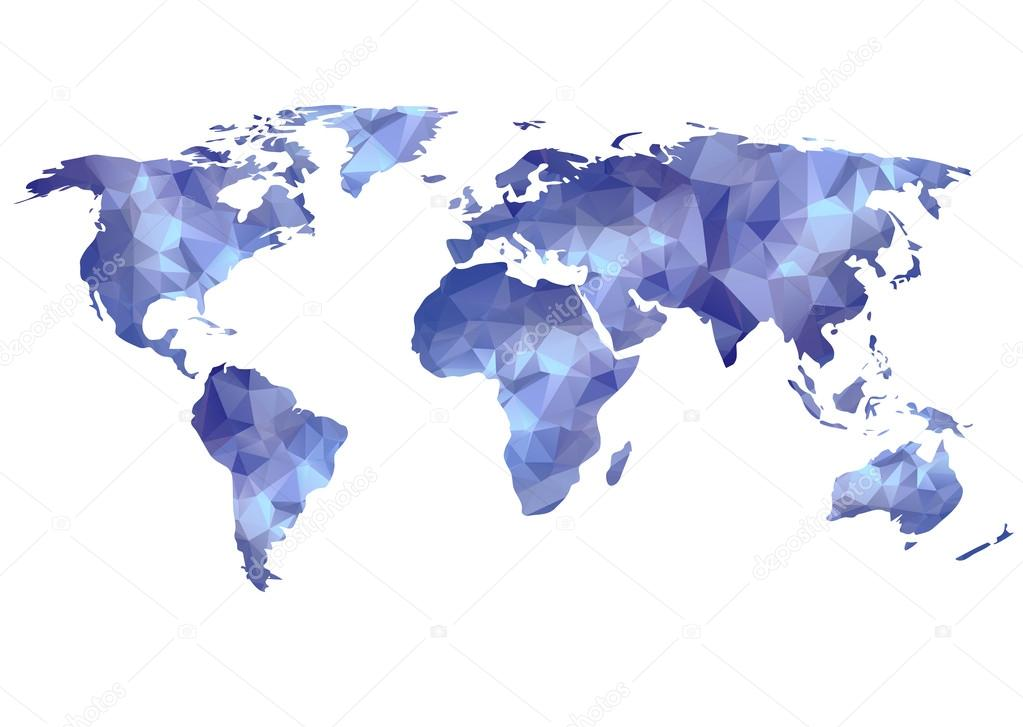 World map background in polygonal style Stock Photo Merfin 44206705