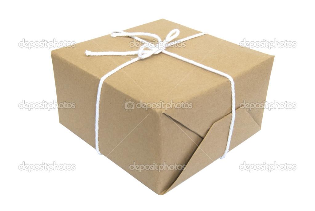 Paquete de regalo en la envoltura de papel de estraza - Paquetes de regalo ...