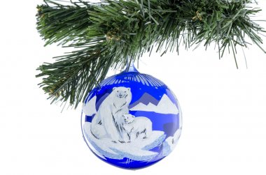 Christmas toy ball of blue with a picture of a bear.