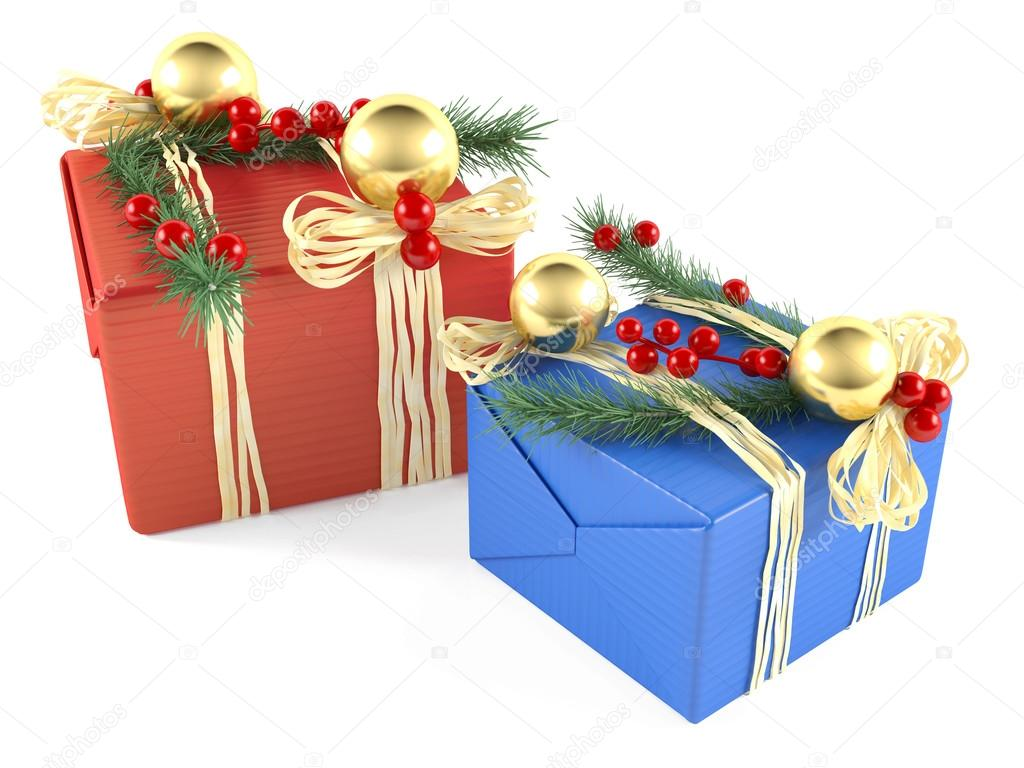 two decorated christmas gift box isolated stock photo