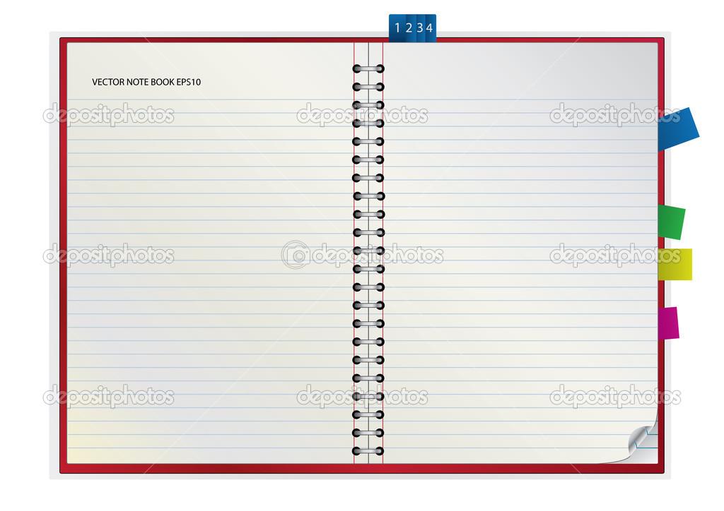 Portada En Blanco Nota Libro Abierto Y Rojo