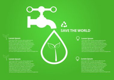 Save world icon water drops with faucet