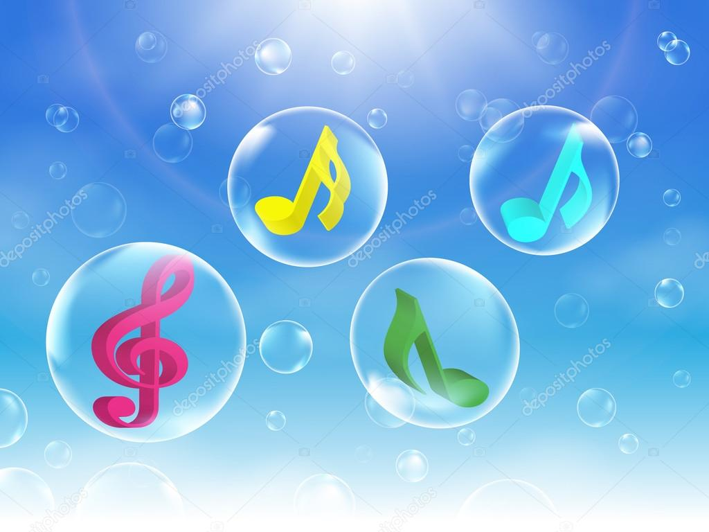 Colorful Musical Bubbles vector illustration