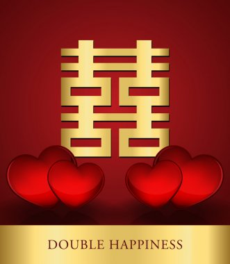 Chinese Shuang Xi (Double Happiness) with red hearts background