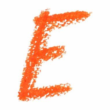 E - Orange handwritten letters on white background.