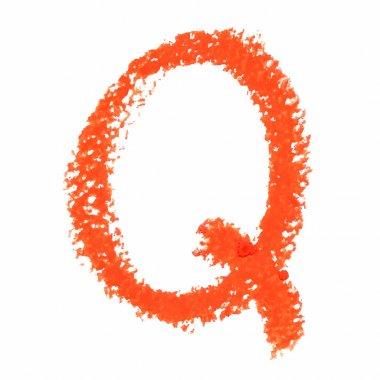 Q - Orange handwritten letters on white background.