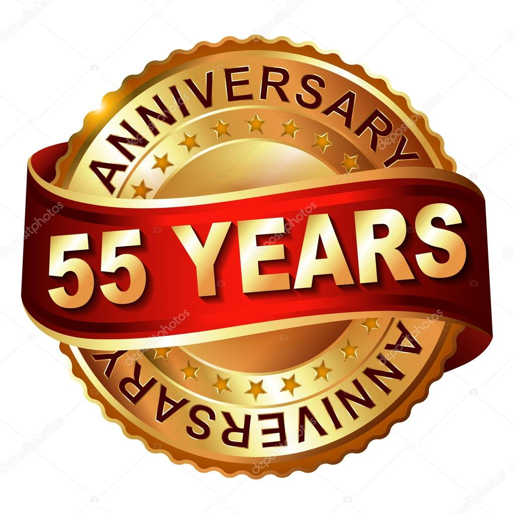 55 Years Anniversary Golden Label With Ribbon Stock Illustration